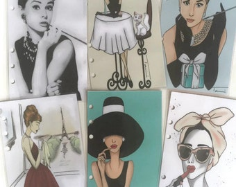 Audrey Hepburn Breakfast at Tiffanys Filofax Dividers, Pocket, Personal and A5