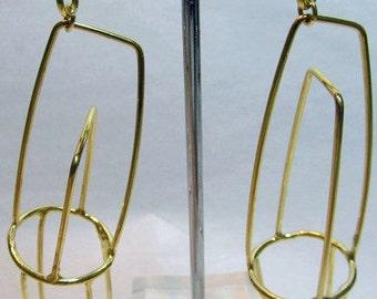 Geometric Long Square Earrings