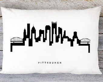 Pittsburgh Skyline Pillow Cover - Pittsburgh Cityscape Throw Pillow Cover - Modern Black and White Lumbar Pillow - By Aldari Home