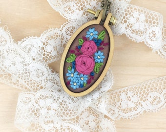 Fuchsia Roses Mini Embroidery Hoop, Embroidered Flowers, Flower Mini Hoop Necklace, Pure Silk Ribbon, Ribbon Embroidery, Cool Winter Colors