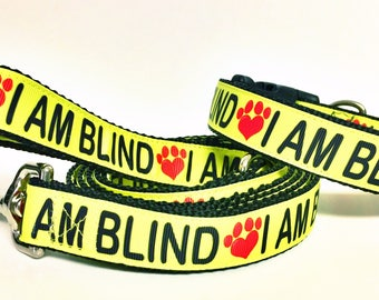 I AM BLIND Dog Collar & Leash Set