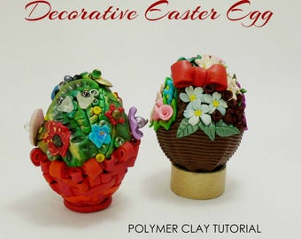 Easter Egg decoration, Hollow Easter egg, Polymer clay e-book, PDF instructions, Hollow polymer clay egg, DIY craft idea, Handmade craft