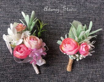 Silk boutonniere etsy blush pink green silk flowers boutonniere wrist corsage mini fake tea roses lapel pin prom corsages rustic boutineer wedding floral decor mightylinksfo