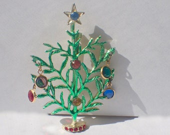 Charlie Brown Christmas Tree Pin, Dangling Bezel Set Crystals, Enamel, Book Piece