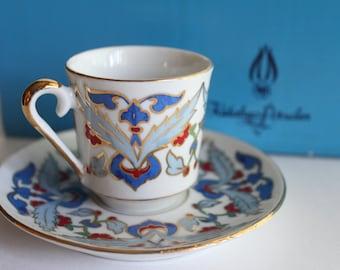 Vintage Turkish Kutahya Porselen Tea Set - Cups Saucers Turkey Porcelain Red Blue Six Box