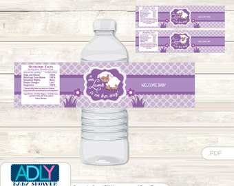 Purple Lamb Baby Shower Water Bottle Wrappers, Labels, - it's a Purple Sheep, Afro-american - oz83bs 5