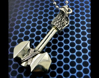 Brass Thor's Hammer Eagle Head Pendant Necklace, Free Shipping