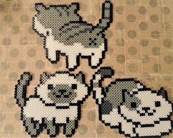 Neko Atsume set of 3 cats Perler Art