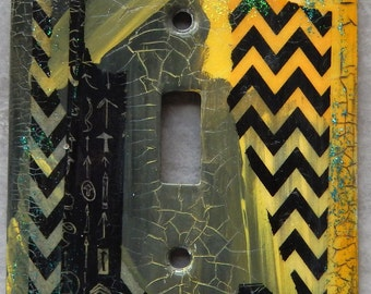 Urban Colors #7, light switch cover, mixed media, collage, yellow, black and grays, abstract design