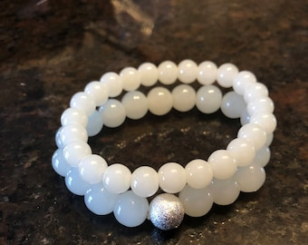 Frosty White Beaded Bracelet