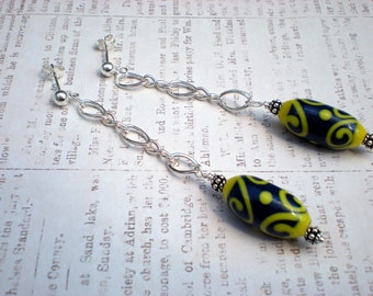 Summer daze earrings, Indonesian glass beads, sterling silver, unique jewelry by Grey Girl Designs on Etsy