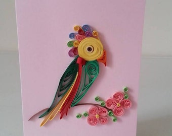 Quilled Card, Thank you Card, Paper Card, Quilled Bird, Quilled Gift, Greeting Card, Feather Card, Birthday Card, Spring Card, Handmade Card