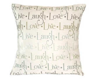 Pillow Cover, Live, Laugh, Love Pillow Cover, Browns, Blues, And Pale Green, 18 x 18 inches