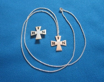 Vintage Mid Century Modern Sterling Silver Necklace Set with IHN Cross Pendant and Brooch