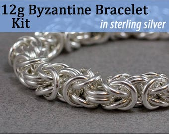 12g Byzantine Bracelet Chainmaille Kit in Sterling Silver