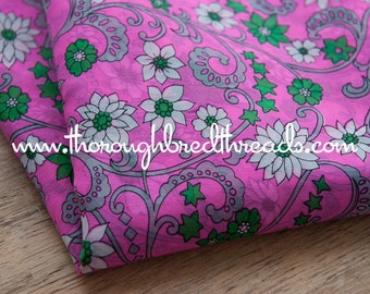 Daisies and Stars  - Vintage Fabric Mod 70s 80s Apparel Pink