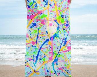 80s Clothing Neon Paint Splatter Rainbow Beach Towel Retro 80s Splatter Paint Festival Clothing Rave Clothing Burning Man Vintage