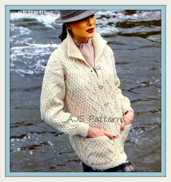 Pdf Knitting Pattern For A Ladies Cabled Aran Jacket Or