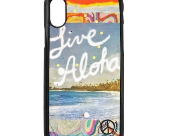 NEW iPhone X Case, Best Seller, Live Aloha, Modern, Surf, Sunset, Hawaii, Aloha, iPhoneX, Beach, Art, black case color
