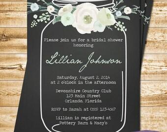 Vintage Mason Jar Bridal Shower Invitation Green Flowers Blue Mason Jar Bridal Shower Invite - Chalkboard Wedding Shower - 1384 PRINTABLE