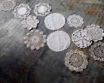 One Doz Vintage Lace Crochet & Linen Doilies – Vintage Doily Collection  /Wedding Table Centerpiece, Textile Wall Art   /0736