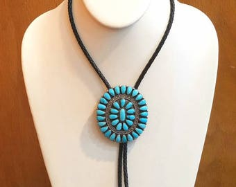 Vintage Native American Zuni Handmade Sterling Silver Cluster Turquoise Bolo Tie