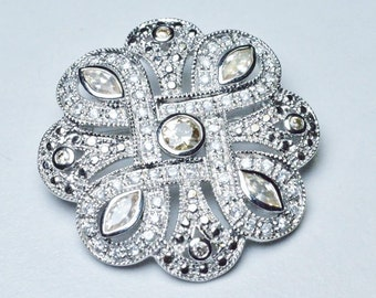 Vintage Sterling Silver Flowing Floral Style Modern Repro Brooch