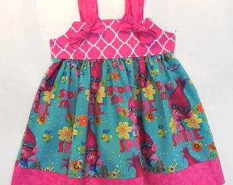 Poppy Troll Dress, Girl Troll Dress, Poppy Birthday Dress, Queen Poppy Dress, Toddler Troll Dress, Poppy Party Dress, Trolls Poppy Dress