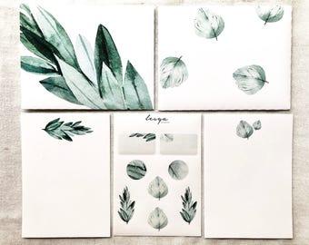 Letter Writing Set - Green Leaves