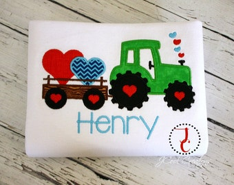 Boys Valentines Day Shirt - Boy Coming Home Outfit, Valentine Shirt, Valentine Outfit, Tractor Shirt, Valentines Day Baby, Boys Valentine