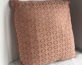 Vintage Salmon Pink Jacquard Fabric Decorative  Pillows / Set of Two Vintage Pillows with Zippers / Vintage Home Decor