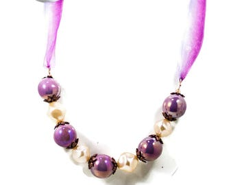 Ribbon Beaded Necklace In Lavender, Copper, And Cream