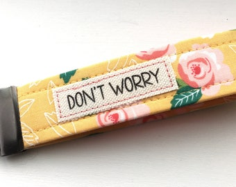 Key Chain Wristlet Moda Farmer's Daughter Yellow Flower Fabric  Key Fob with Message Unique Wristlet