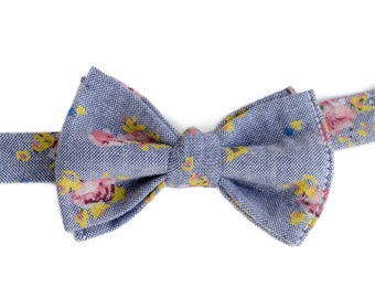 Baby Bow Ties for Boys - Summer Wedding Outfit for Boys - Floral Bow Tie - Wedding Bow Tie - Bow Tie for Kids - Baby Bow Ties for Little Boy