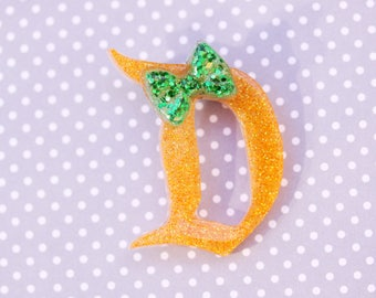 Disney D Brooch - Orange Disney D Pin - Green Bow Disney D Brooch