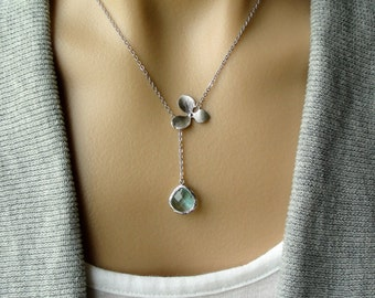 Silver Orchid Lariat with Aquamarine Glass Teardrop  -gift, sterling silver, bridesmaid, wife, sister, mother, birthday