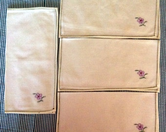 Vintage Table Napkins, purple flower