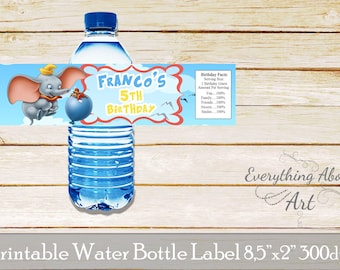 Dumbo water bottle labels, Dumbo birthday, Dumbo party labels, Elephant water bottle wraps, Elephant birthday party labels, Printable labels