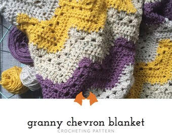 Crochet Baby Blanket Pattern, Crochet Chevron Blanket Pattern, Crochet Granny Chevron Blanket Pattern, Crochet Striped Blanket Tutorial