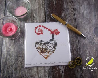 Steampunk Heart Blank Card, Heart Card, Steampunk Love Card, UK