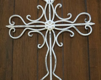Cross Wall Decor / Antique White or Pick Color / Metal Cross / Christian Decor / Religious Decor / Cross Hanging / Shabby Chic Style