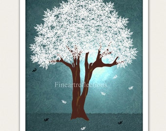 Moonlit Tree Blue Modern Wall Art Print 8x10