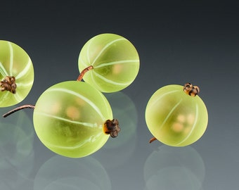 Green Gooseberry Glass Sculpture life-sized hand blown glass art  birthday gift, Mother's Day gift for cook, gardener, chef, gourmet