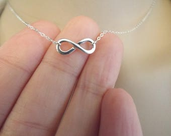 Silver Infinity Necklace, Sterling Silver Infinity Symbol, Figure Eight, Dainty Infinity Charm, Simple Everyday Necklace, Infinity Choker