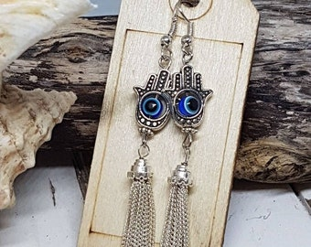 Silver Plated Tibetan Hand with Blue Evil Eye Glass Bead and Chain Tassel Earrings