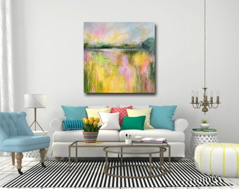 Abstract Landscape Canvas Print, Giclee Print, Wall Art, Large Canvas Print, Large Abstract Canvas, Landscape Painting, Yellow, Pink, Green