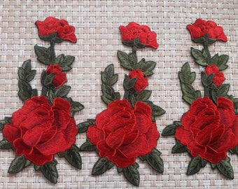 Elegant  flowers  iron on Rose red patches .