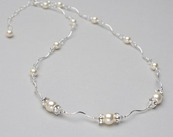 Pearl and Crystal Wedding Necklace, Pearl Bridal Jewelry, Wedding Jewelry for Brides, Pearl and Rhinestone Necklace