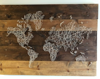 Wood/String World Map