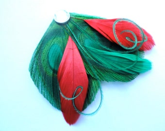 HOLLY Green and Red Peacock Feather Fascinator, Christmas Hair Clip